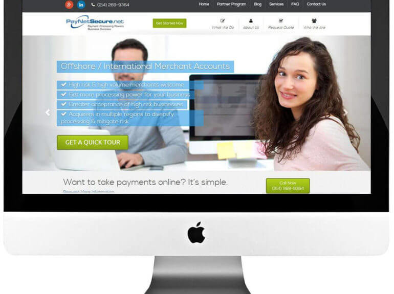 Merchant Services Provider Custom Responsive WordPress Website Development