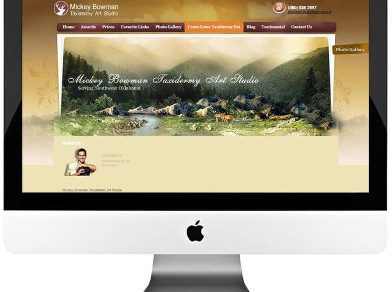 Taxidermy Art Studio Custom WordPress Website Design