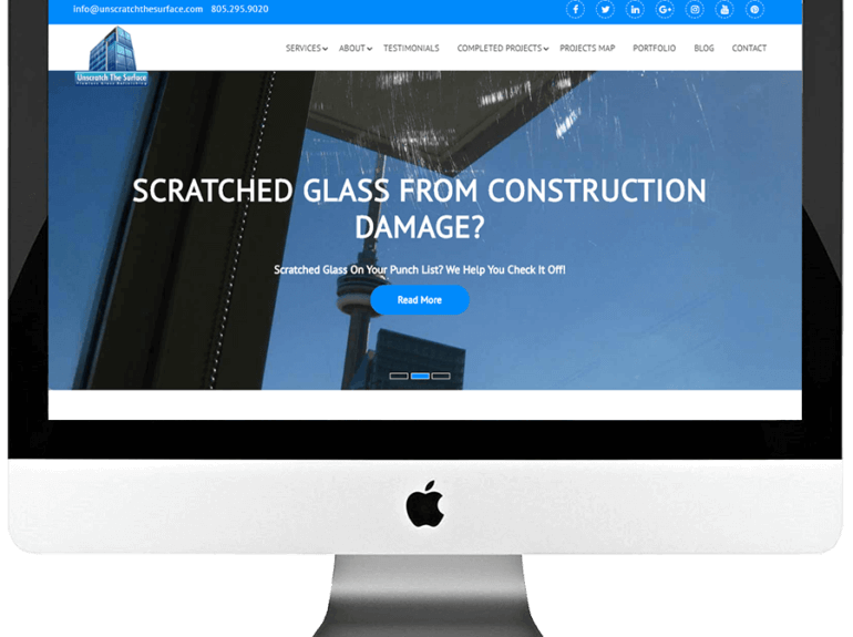 Glass Scratch Removal Company Responsive WordPress Website Design & Development