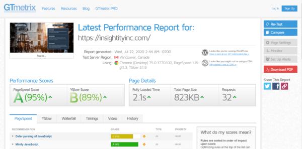 WordPress Pagespeed Optimization with Gtmetrix