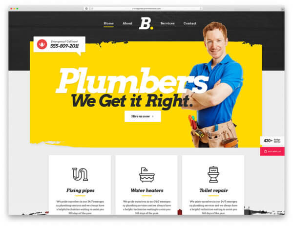 Plumbing Responsive WordPress Website Design